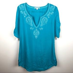 Banana Republic Silk Embroidered Tunic Tassels S